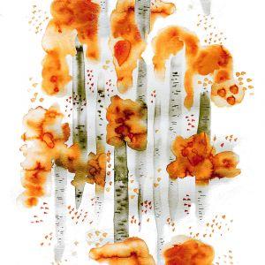Björkar Orange Tyg