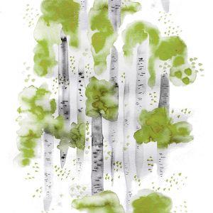 Björkar Grön Tyg Öljettlängd