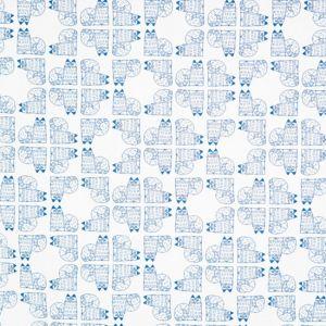 Charlie Vit/Blå Veckad gardinkappa