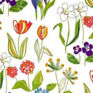 Floral Vit Tyg