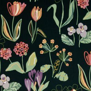 Floral Svart Tyg