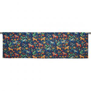 Leksand mini multi/marinblå Slät gardinkappa