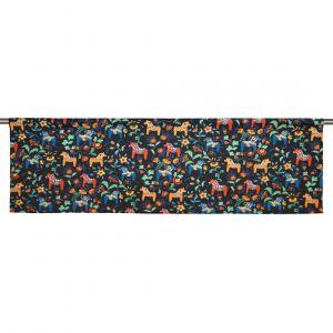 Leksand mini svart/multi Slät gardinkappa