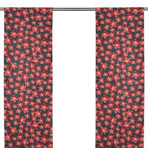 Anemone mini grå/röd Panelgardin