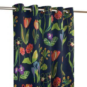 Floral Marinblå Öljettlängd