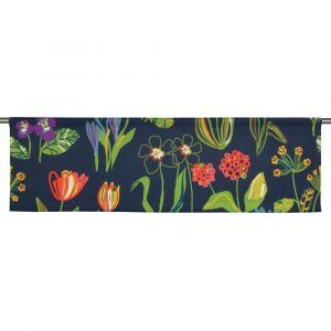 Floral Marinblå Slät gardinkappa