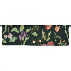 Floral Svart Slät gardinkappa