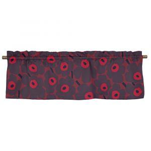 Pieni Unikko Röd/Plommon Veckad gardinkappa