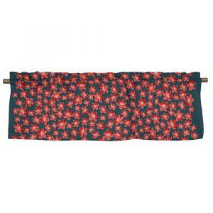 Anemone mini grå/röd Veckad gardinkappa