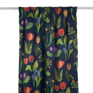 Floral Marinblå Gardinlängd