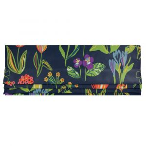 Floral Marinblå Hissgardin