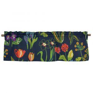 Floral Marinblå Veckad gardinkappa